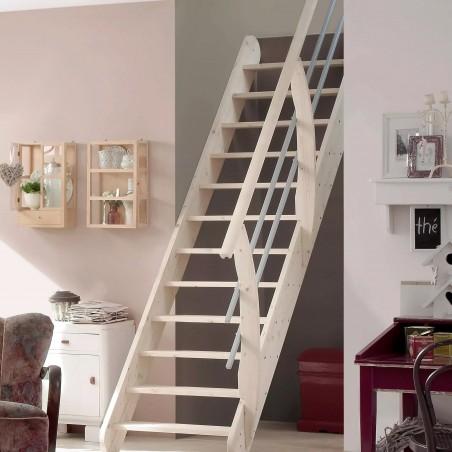 Escalier gain de place en bois massif - Living