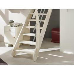 Escalier en bois Savoy: 1/4 tournant, contremarches, rampe [SY8]