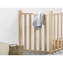 Escalier en bois massif: épicéa, 1/4 tournant, rampe [CF7]