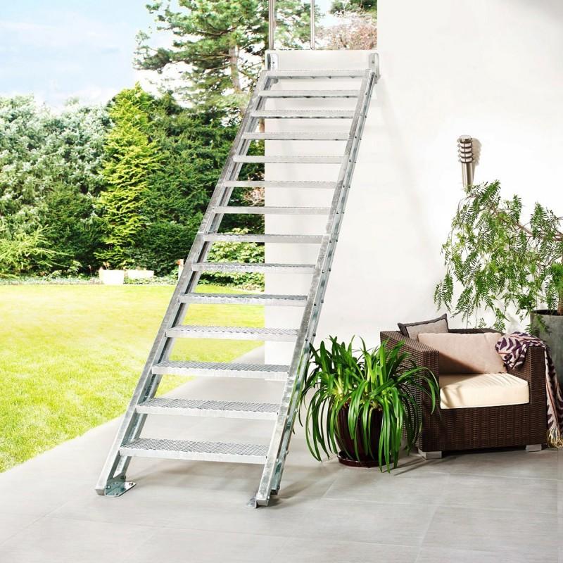 Escalier extérieur Hollywood sans rampe