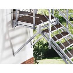 Escalier extérieur Hollywood WPC avec palier et 2 rampes