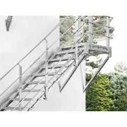 Escalier extérieur Hollywood avec palier et 1 rampe