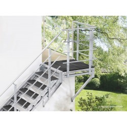 Escalier extérieur Hollywood WPC avec palier et 1 rampe