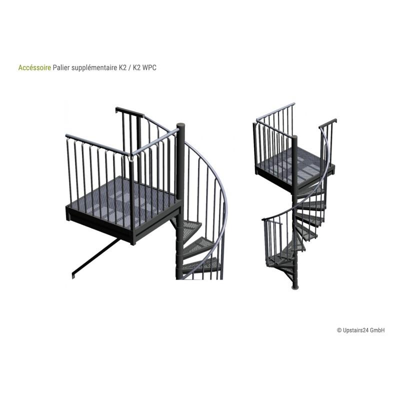 Surcoût - Palier carré - Escalier colimaçon exterieur K2