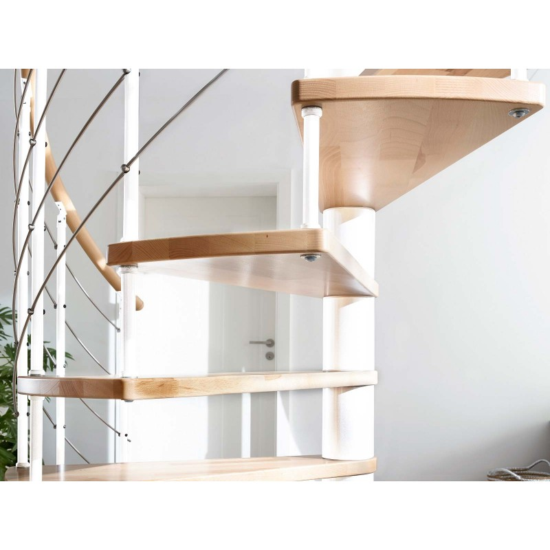 Escalier en bois Casablanca:  1/4 tournant, rampe [CB7]