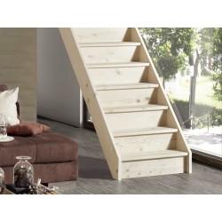 Escalier en bois Casablanca: droit, contremarches [CB2]