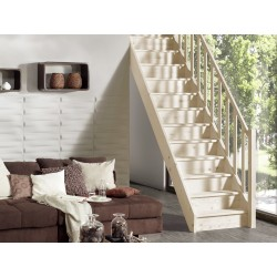 Escalier en bois Casablanca: droit, contremarches, rampe [CB4]