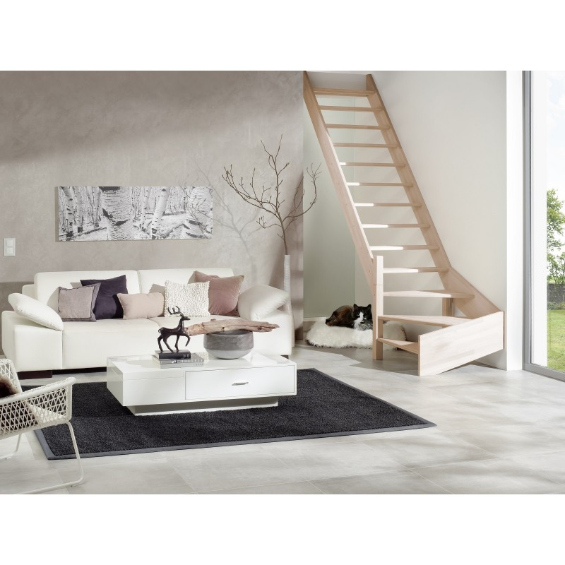 Escalier en bois Savoy: droit, contremarches, rampe [SY4]