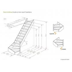 Escalier en bois Casablanca: 1/4 tournant, contremarches, rampe [CB8]
